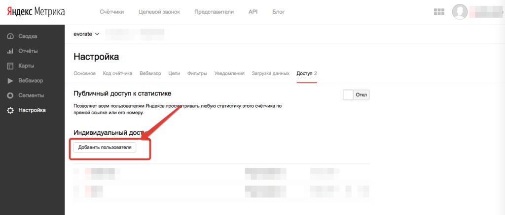 Добавить пользователя Яндекс Метрика