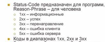 Расшифровка кодов ответа сервера